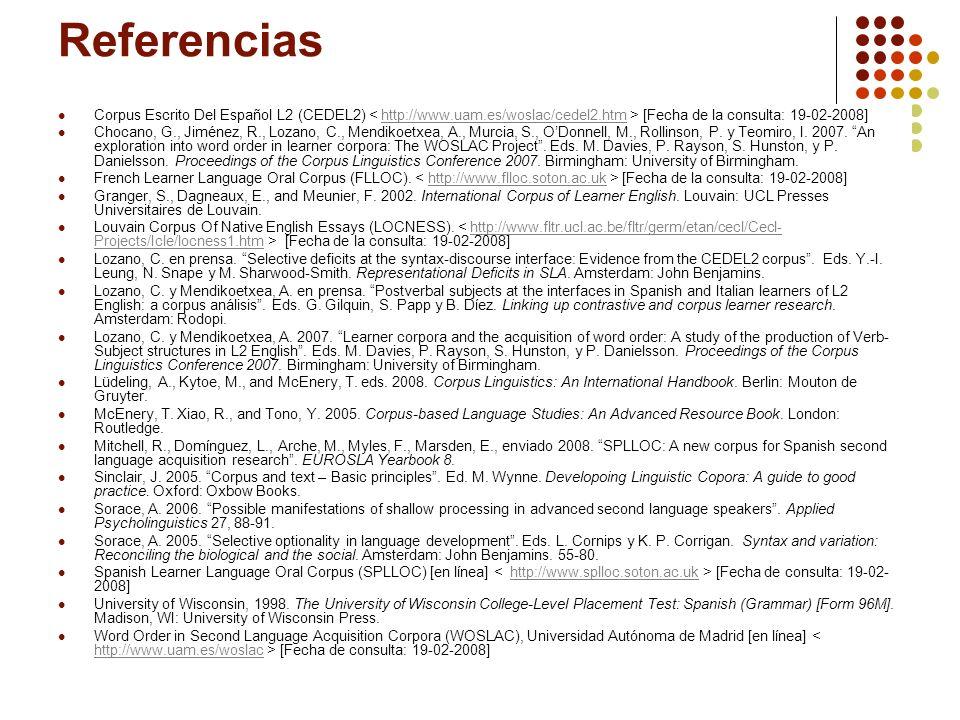 Referencias Corpus Escrito Del Español L2 (CEDEL2) < http://www.uam.es/woslac/cedel2.htm > [Fecha de la consulta: 19-02-2008]